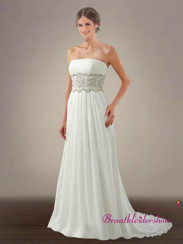 Gerader Ausschnitt Chiffon Klassische Schärpe Hochzeitskleid GWRW189 ...