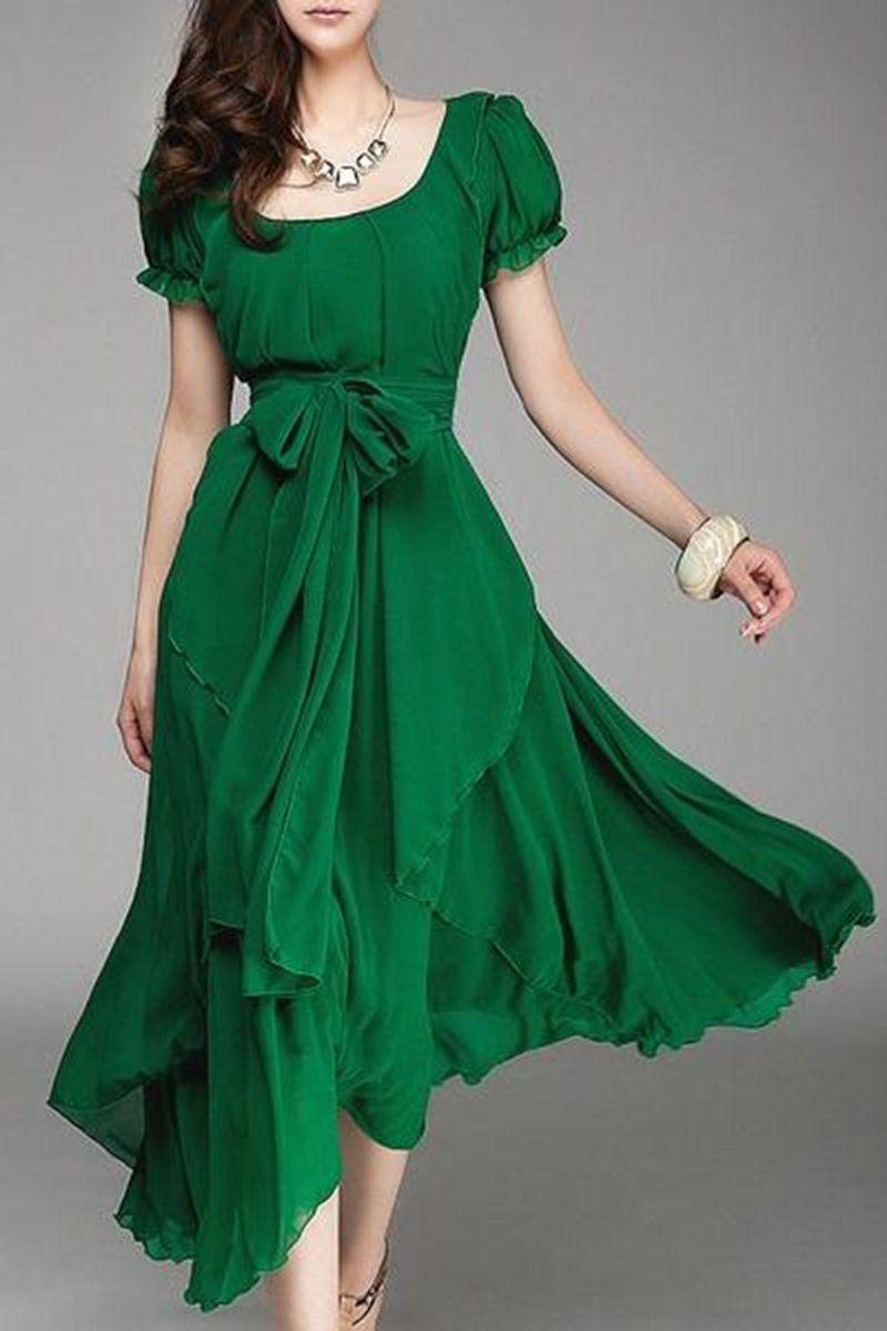 Square Neck Asymmetric Hem Belt Plain Puff Sleeve Maxi Dresses Maxi Spring Dress Summer Maxi Maxi Dress Chiff Maxi Dress Maxi Dress With Sleeves Chiffon Dress [ 1200 x 800 Pixel ]