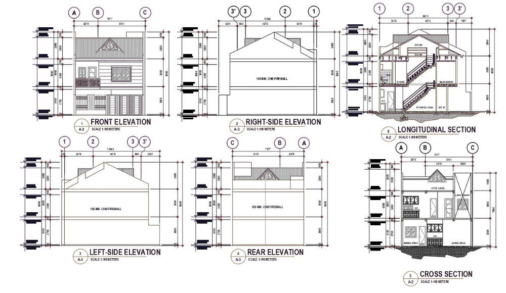 House Longitudinal Section And Elevation Design In 2020 Building Design Family House Plans 2 Storey House