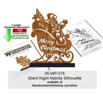 Santa Claus with his sleigh full of presents, there is even a fully decorated Christmas tree for someone! This scroll saw silhouette pattern is a good woodworking plan for beginners to practice cuttin...