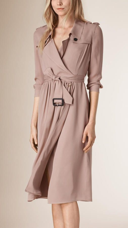 0ddb913a0e9 Burberry Silk Trench Dress