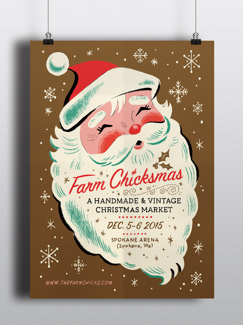 For A Christmas Market In Spokane Wa We Were Asked To Create A Vintage Style Santa Poster The Items At Th Christmas Illustration Stationery Design Christmas