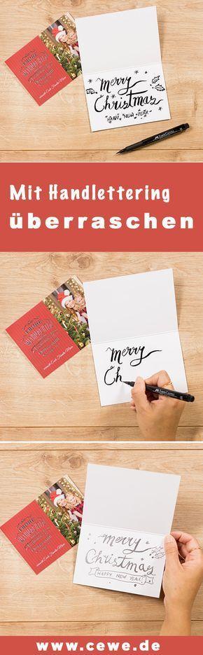Cewe Weihnachtskarten.Weihnachtskarte Mit Handlettering Uberraschen Anleitungen