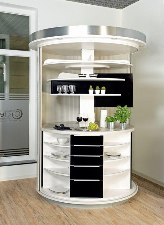 Drehbares Rundkuchen Kompaktkonzept All In One Fur Urbanes Wohnen Compact Kitchen Inside Home Kitchen Cupboards