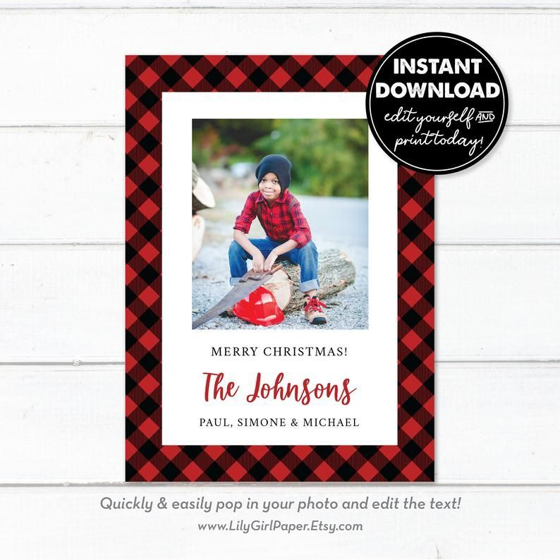 Editable Buffalo Plaid Photo Holiday Christmas Card Template Etsy Christmas Card Template Holiday Photo Cards Template Photo Card Template