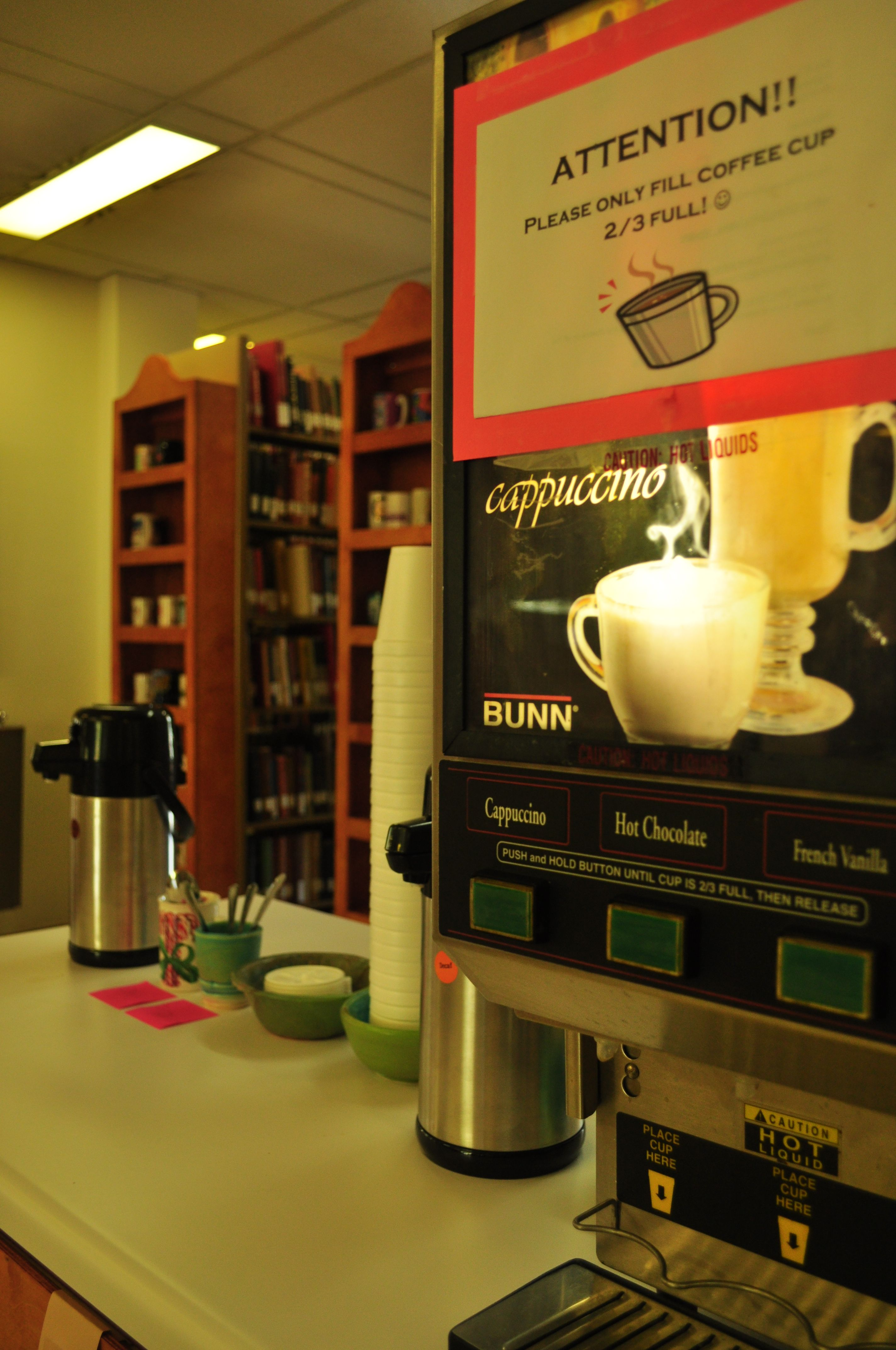 The coffee station in Bowling Library is where it's happening!
