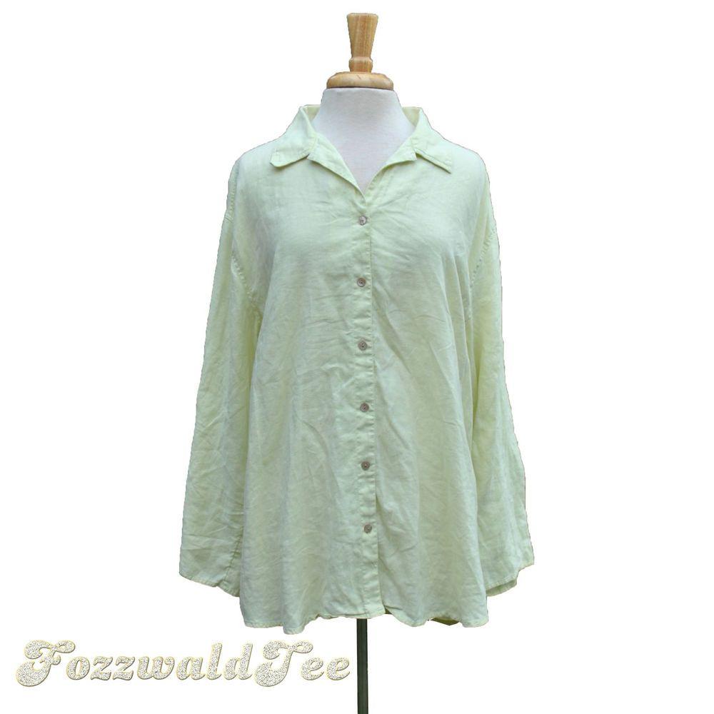J Jill Long Linen Big Shirt Sz Xl Pale Green Womens 1x Artisan