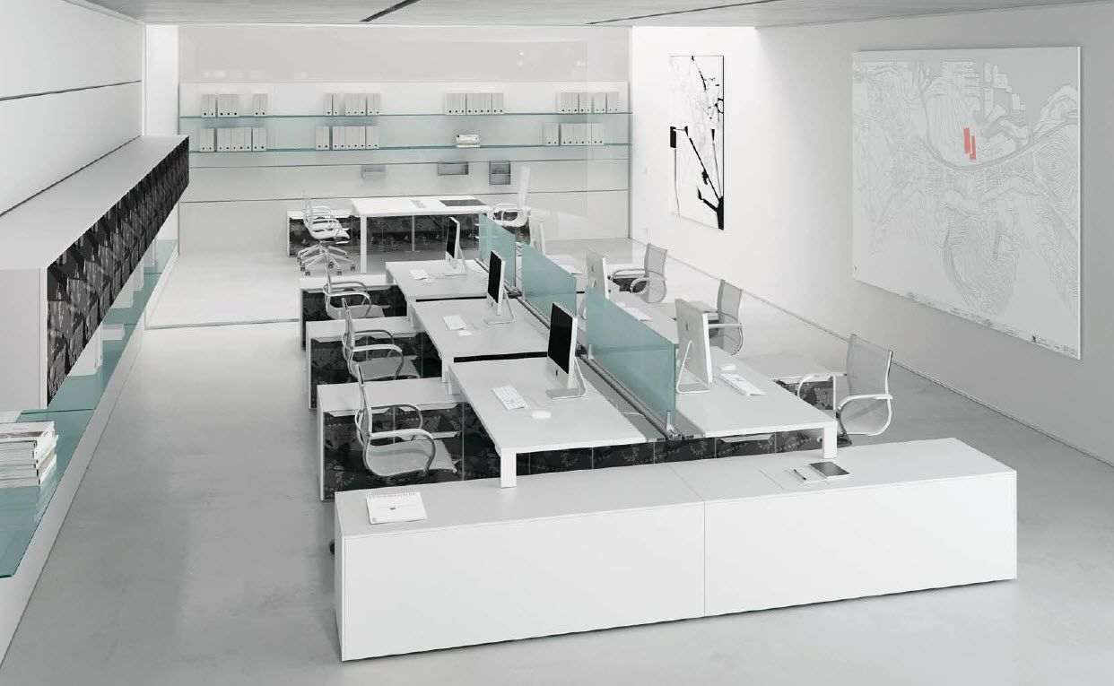 UShaped Desk Layout for Open Plan Diseño de interiores