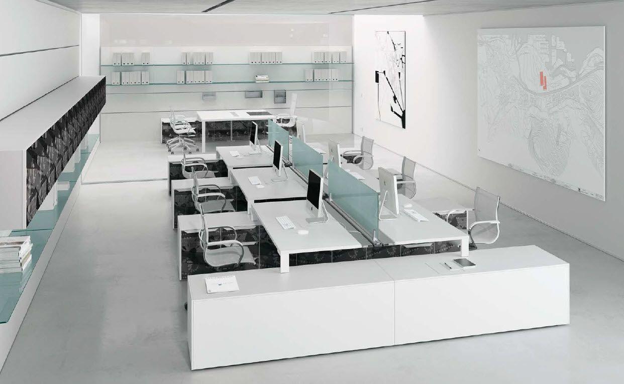 U shaped desk layout for open plan muebles modulares
