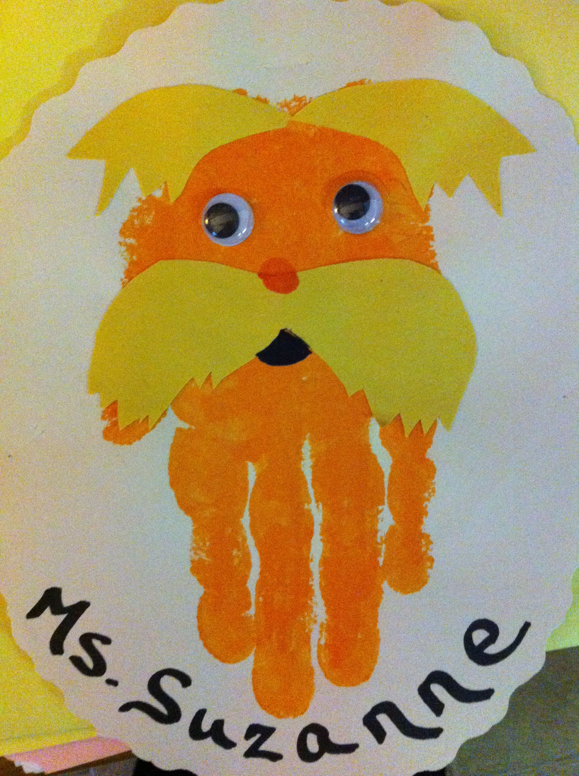 Kinder Fußabdruck Lorax Handprint Craft For Preschoolers Hand Fussabdruck