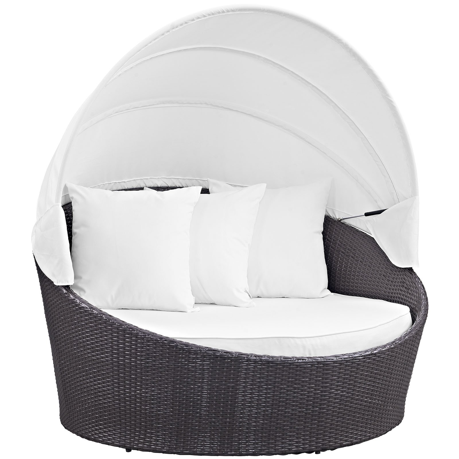 Stupendous Modway Convene Wicker Outdoor Daybed With Canopy White Alphanode Cool Chair Designs And Ideas Alphanodeonline