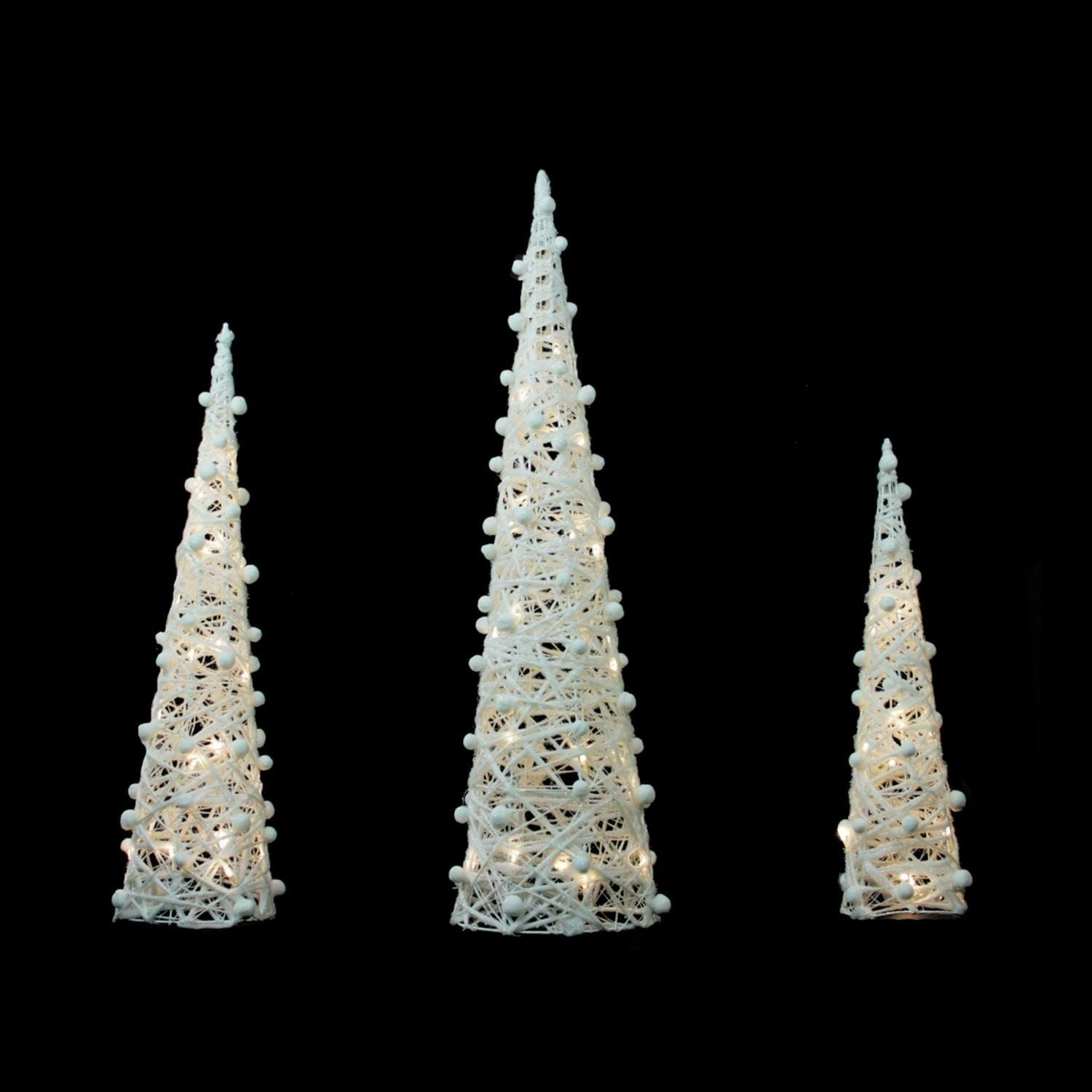 Set Of 3 Battery Operated White And Silver Glittered Led