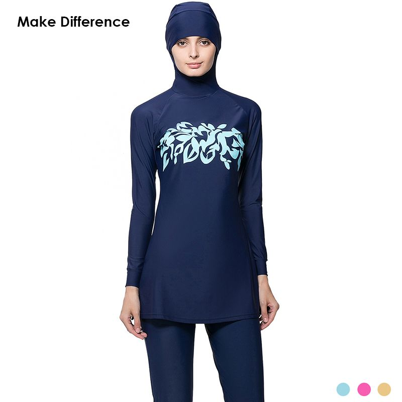 1bd56620e174c Make Difference Print Modest Swimwear Burkinis Plus Size Muslim Swimming  Suit Full Cover Hajib Muslim Swimsuit