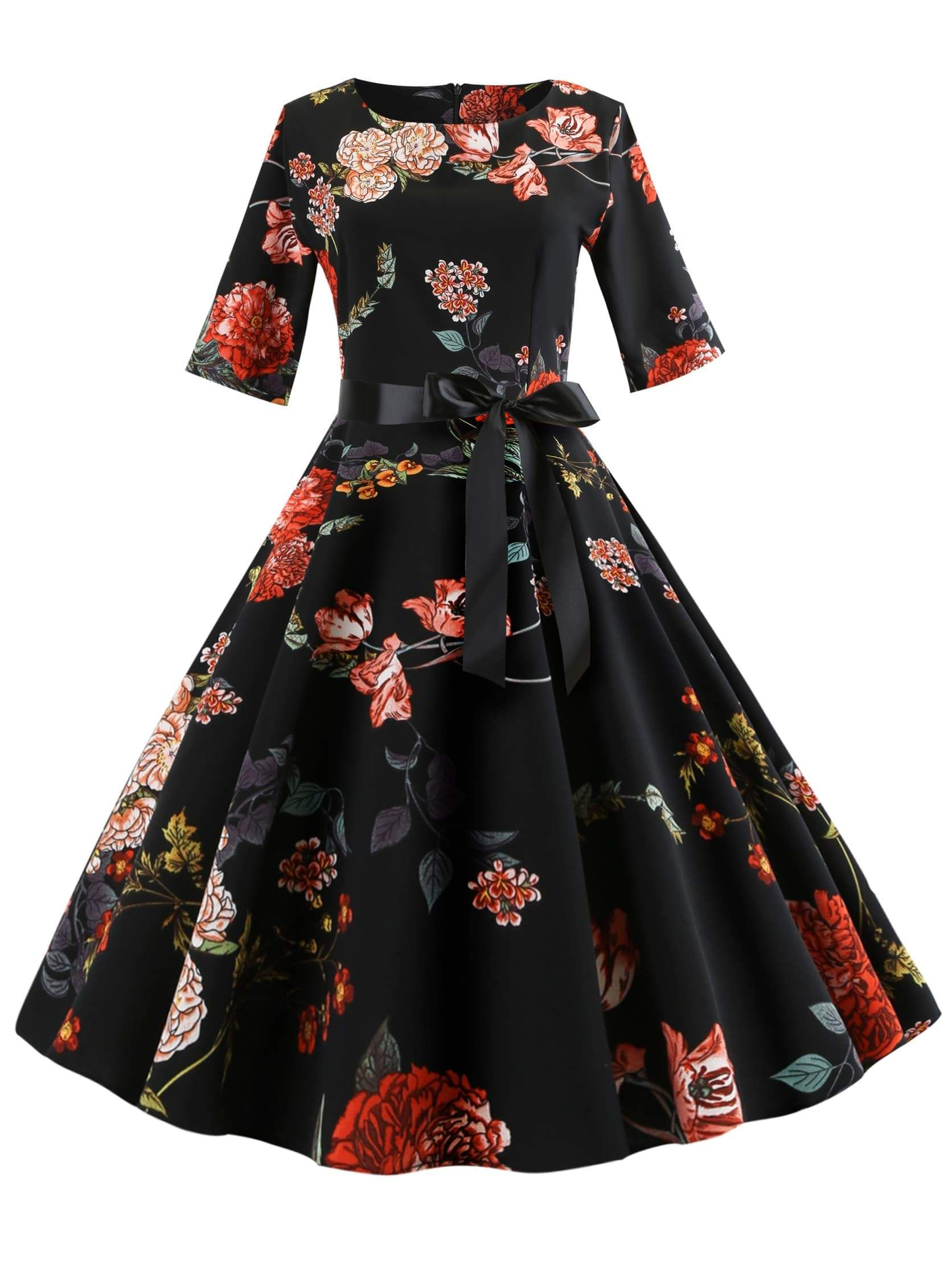 Azulina Audrey Hepburn Vintage Party Dress Women Floral Flare Midi Dresses  Winter Autumn Retro Elegant Dress Vestidos Robe Femme  d6d2688e6260