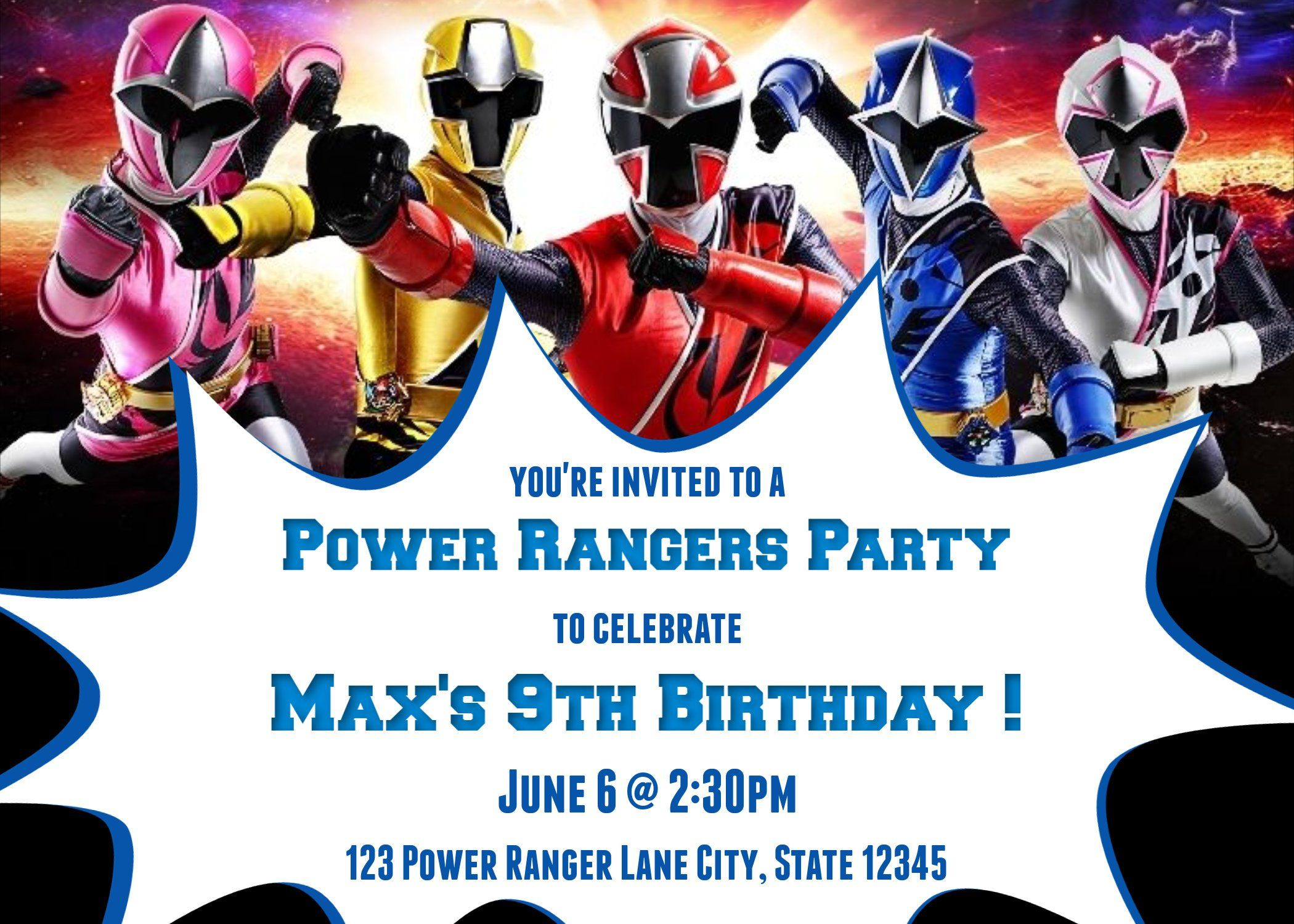 9th Birthday Power Rangers Ninja Steel Birthday Party Invitation Etsy Birthday P Power Ranger Birthday Power Ranger Birthday Party Power Rangers Invitations