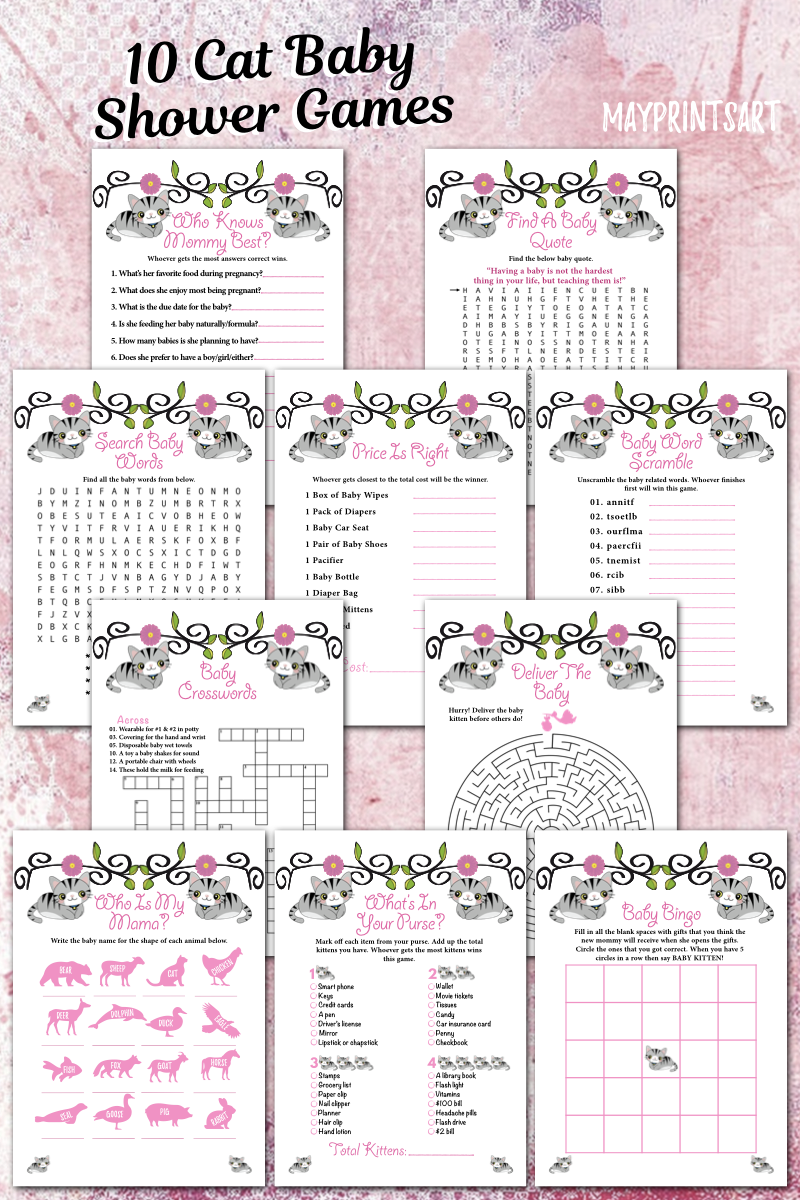 Cat Or Kitten Baby Shower Games Package Set Baby Shower Game Etsy In 2020 Baby Shower Games Printable Baby Shower Games Cat Baby Shower