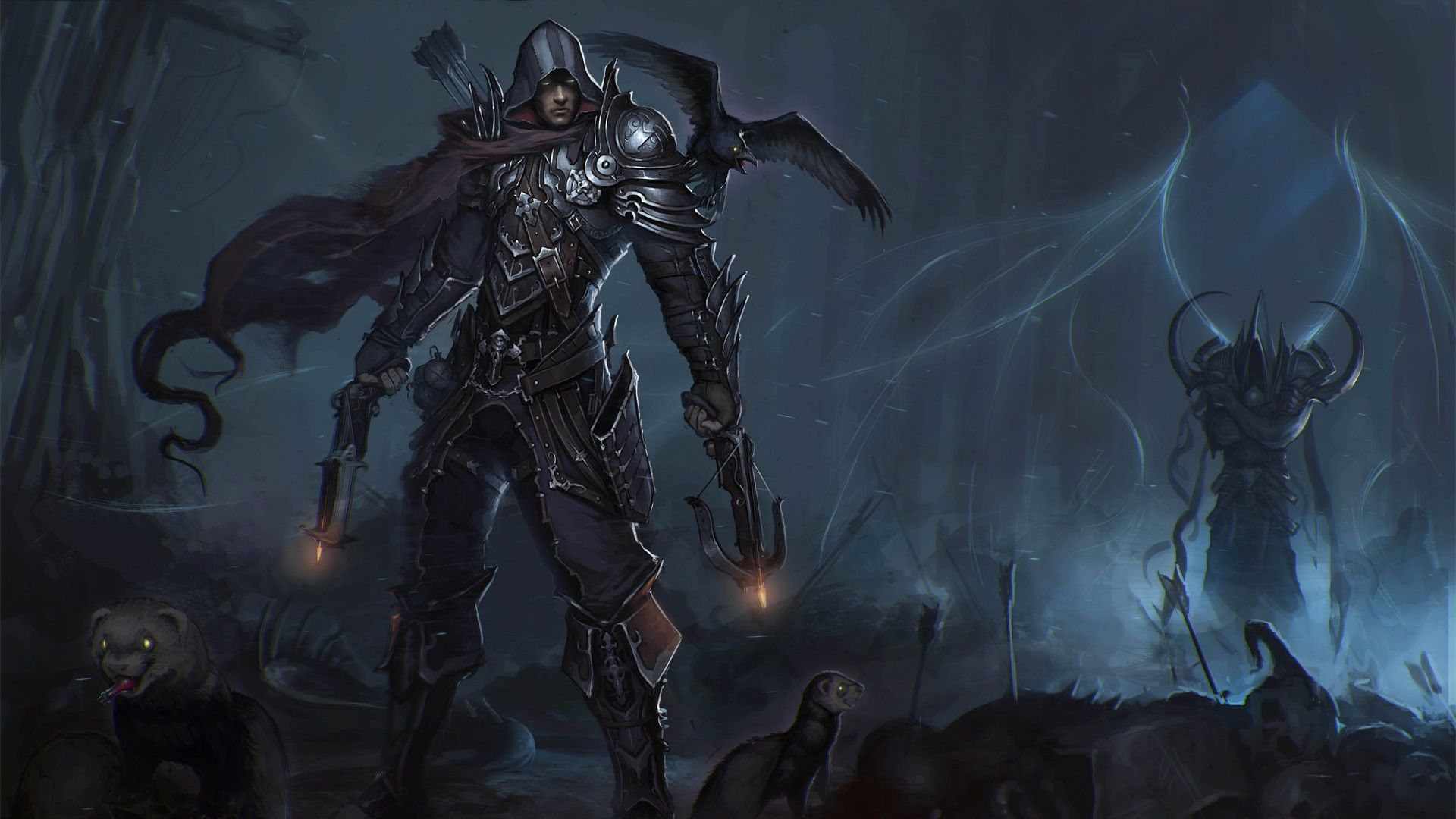 Wallpaper Diablo 3 Hunter Raven Crossbow Dark Armor Ruin Skull