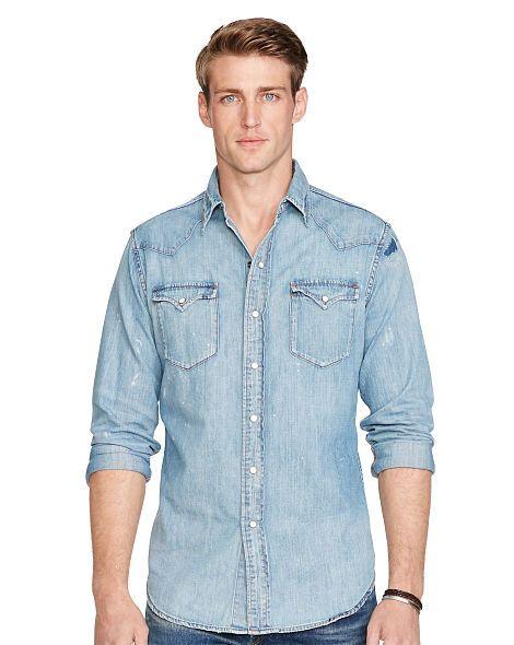 9719549364e Distressed Denim Western Shirt - Polo Ralph Lauren Standard Fit -  RalphLauren.com
