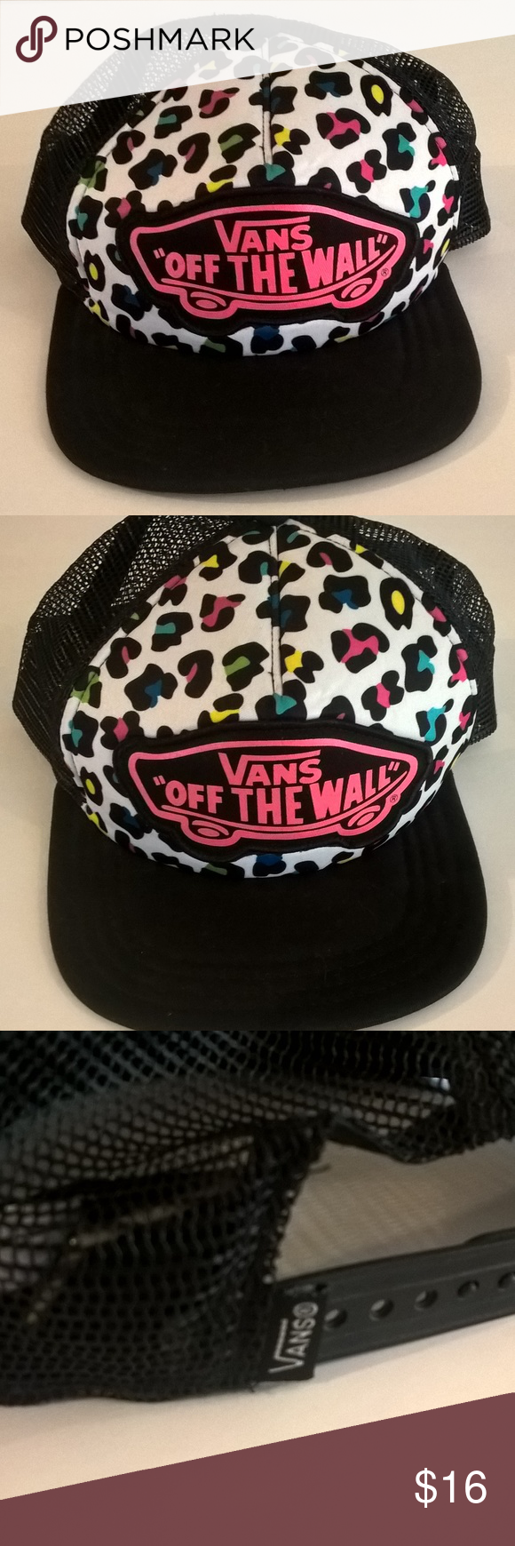 vans hat womens black and pink animal print womens vans off the wall cap  adjustable black and pink trucker hat. excellent preowned condition. d4c201f2b