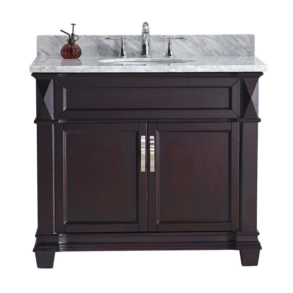 Victoria 36 Inch Single Vanity In Espresso With Marble Top Round