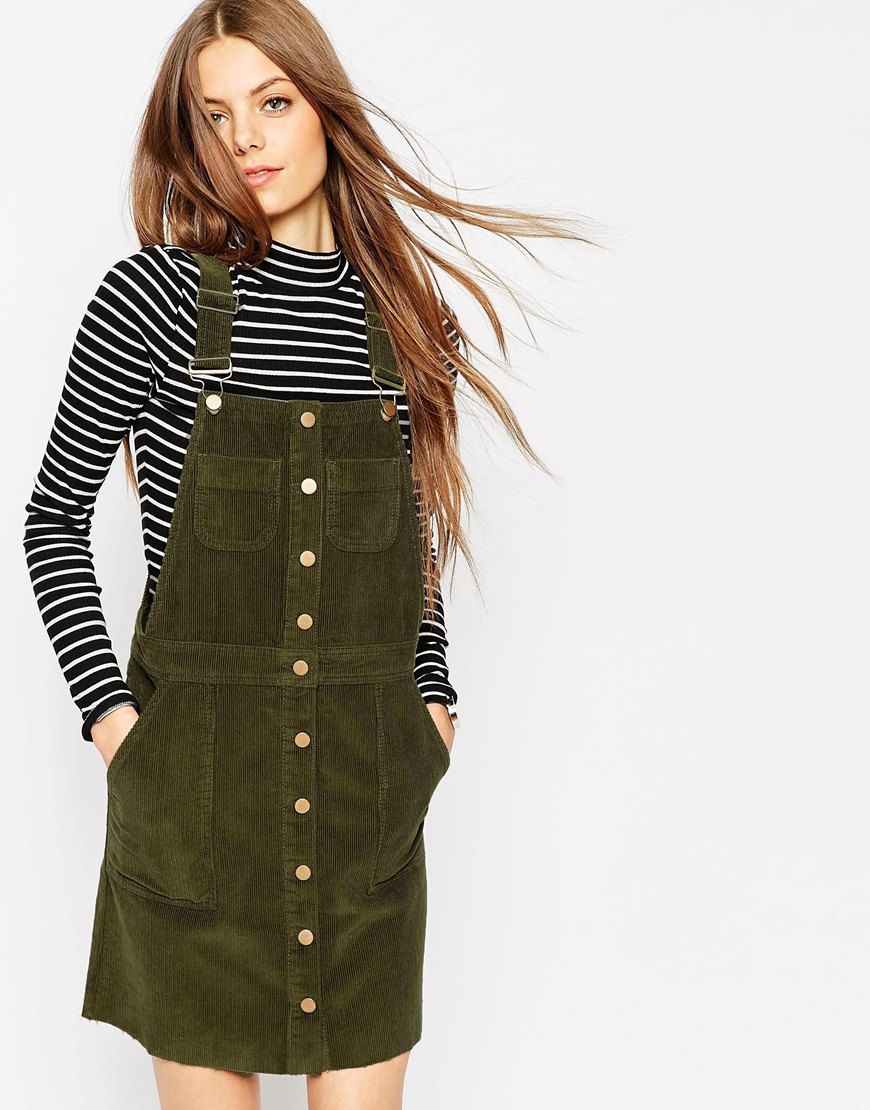 Asos Cord Button Front Dungaree Dress With Raw Hem In Olive Green At Asos Com Overall Dress Fashion Clothes [ 1110 x 870 Pixel ]