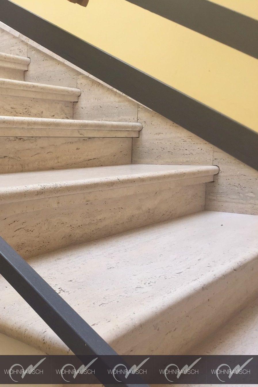 Hochwertige Travertin Crema Treppe Die Vorderkante Ist Halbrund Gefrast Und Geschliffen Wohnrausch Travertin Na Natursteinfliesen Natursteinplatten Treppe