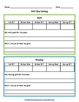 Nwea Map Goal Setting Worksheet Education Pinterest Setting