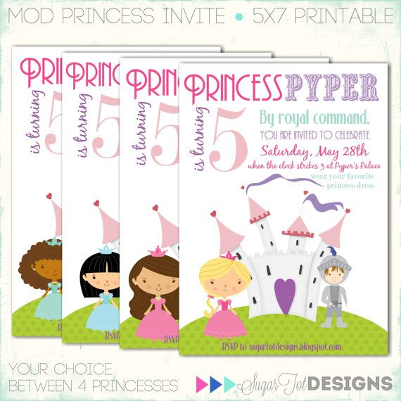 Princess birthday invitation disney princess birthday party items similar to princess birthday invitation disney princess birthday party invitation princess invite mod princess invitation printable on etsy stopboris Images