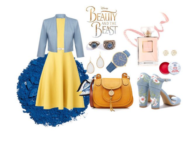 """Belle Inspired"" by a-miri-ad on Polyvore featuring Fenn Wright Manson, Disney, Chanel, Illamasqua, L.K.Bennett, Kate Spade, See by Chloé, Dorothy Perkins, Charlotte Russe and Smith's"