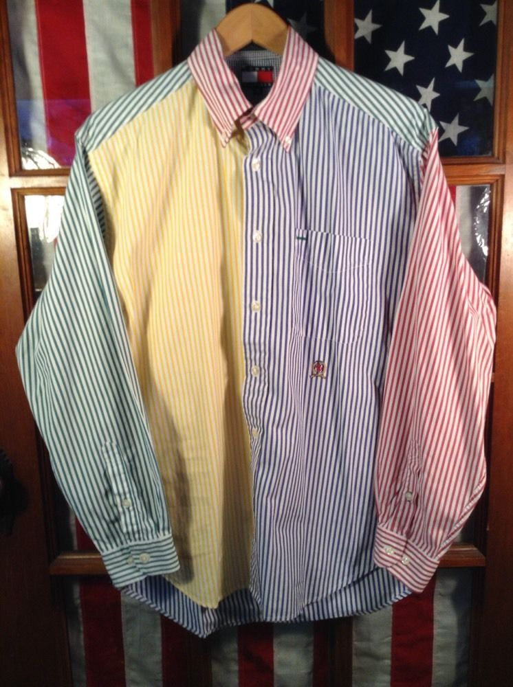 Vtg 90s Tommy Hilfiger striped-colors/colors blocked button down shirt tV418y2F