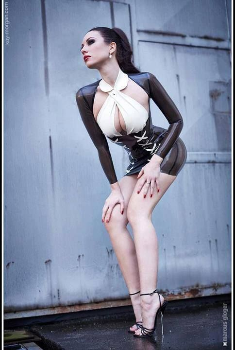 Black and white Secretary Latex Outfit