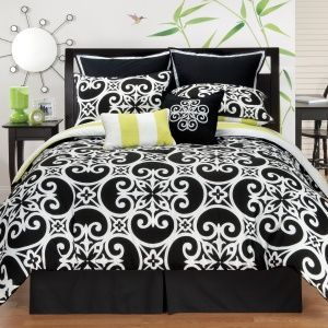 Black and White Comforter Set with a Splash of Neon Green ...