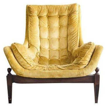 Marvelous Mid Century Yellow Velvet Tufted Bucket Chair   Midcentury   Armchairs   San  Francisco