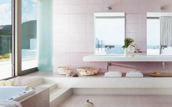Rosa Badezimmer Gestalten Ideen Wand Fliesen Badezimmer