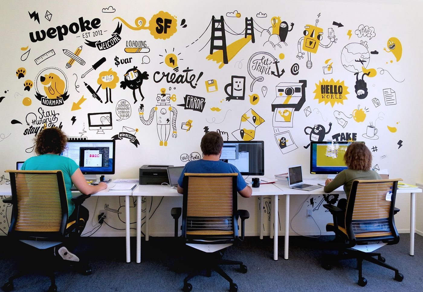Mural For Tech Startup Wepoke In San Francisco Office Wall Design Office Mural Office Wall Graphics