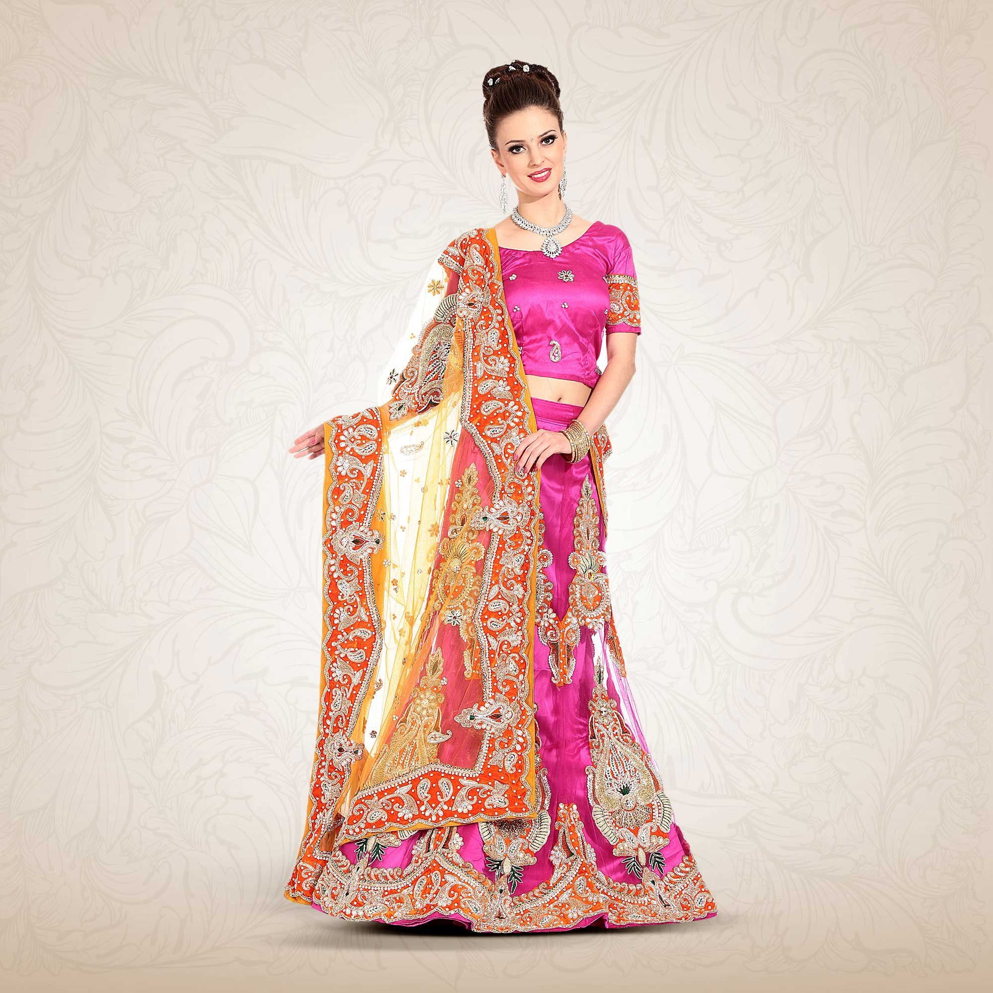Womenus pretty a line lehenga style in fuchsia color with shade