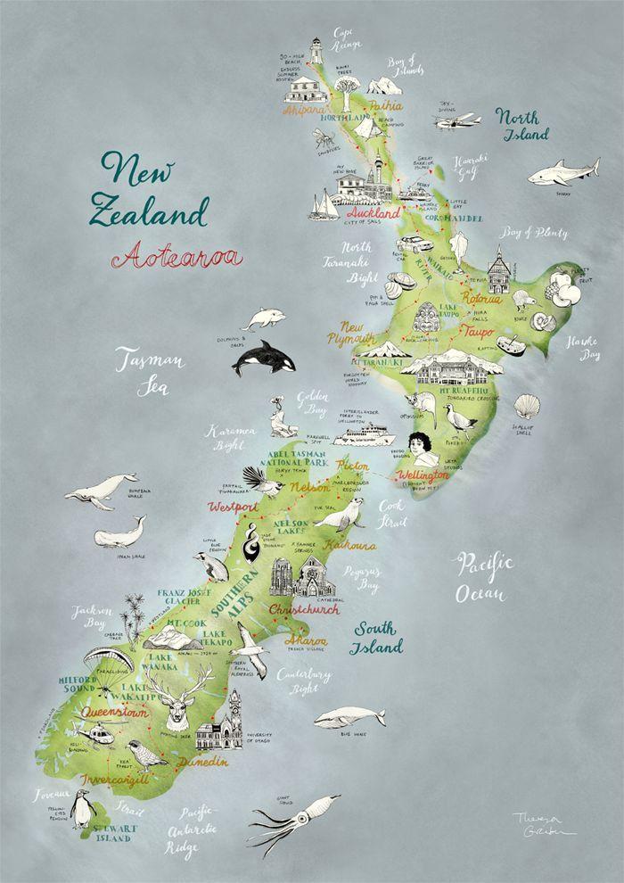 Carte Nouvelle Zelande Dessin.Travel Map New Zealand Carte Illustree De Voyage Nouvelle