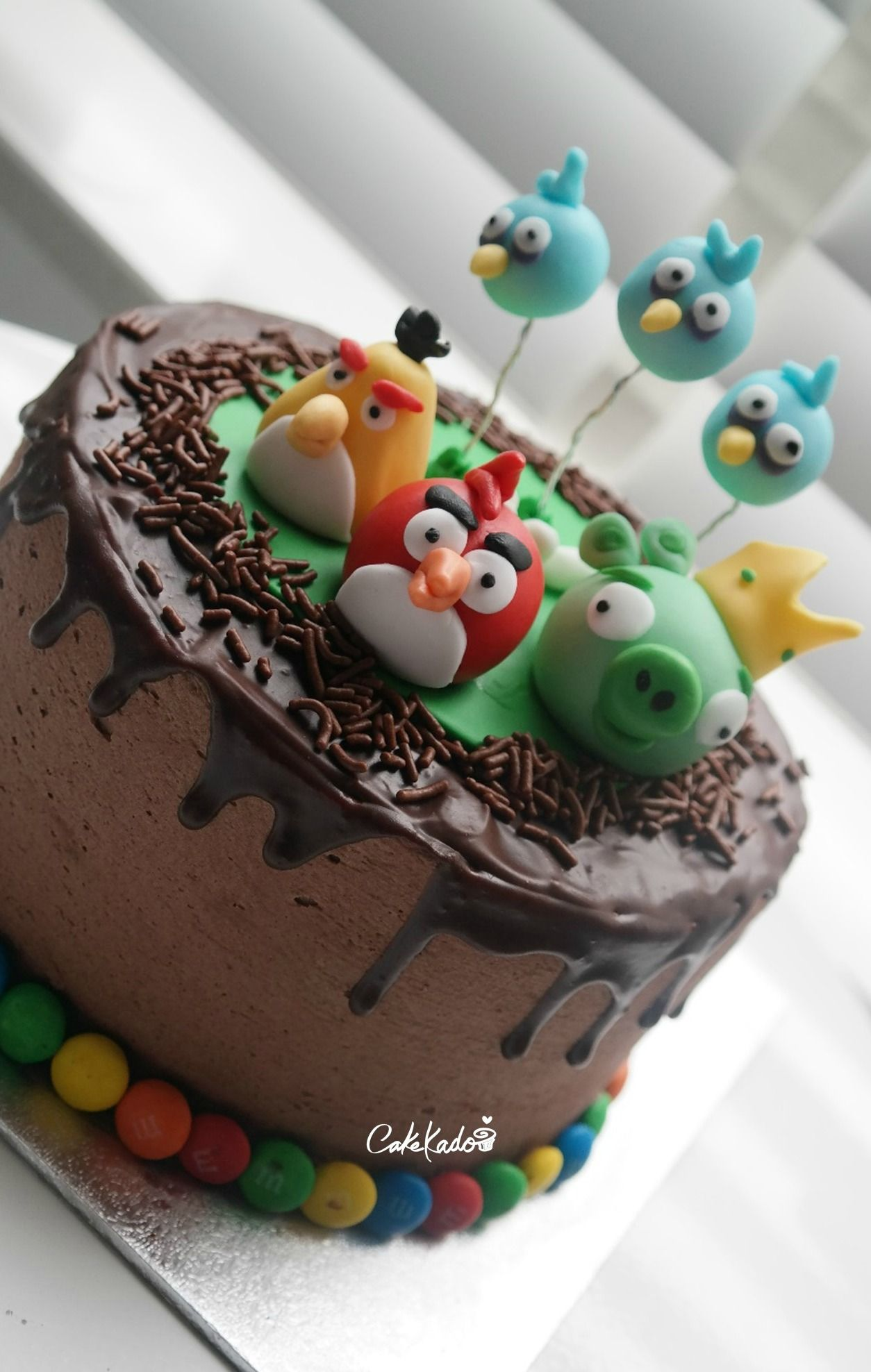 Angry Birds Ganache Drizzle Cake
