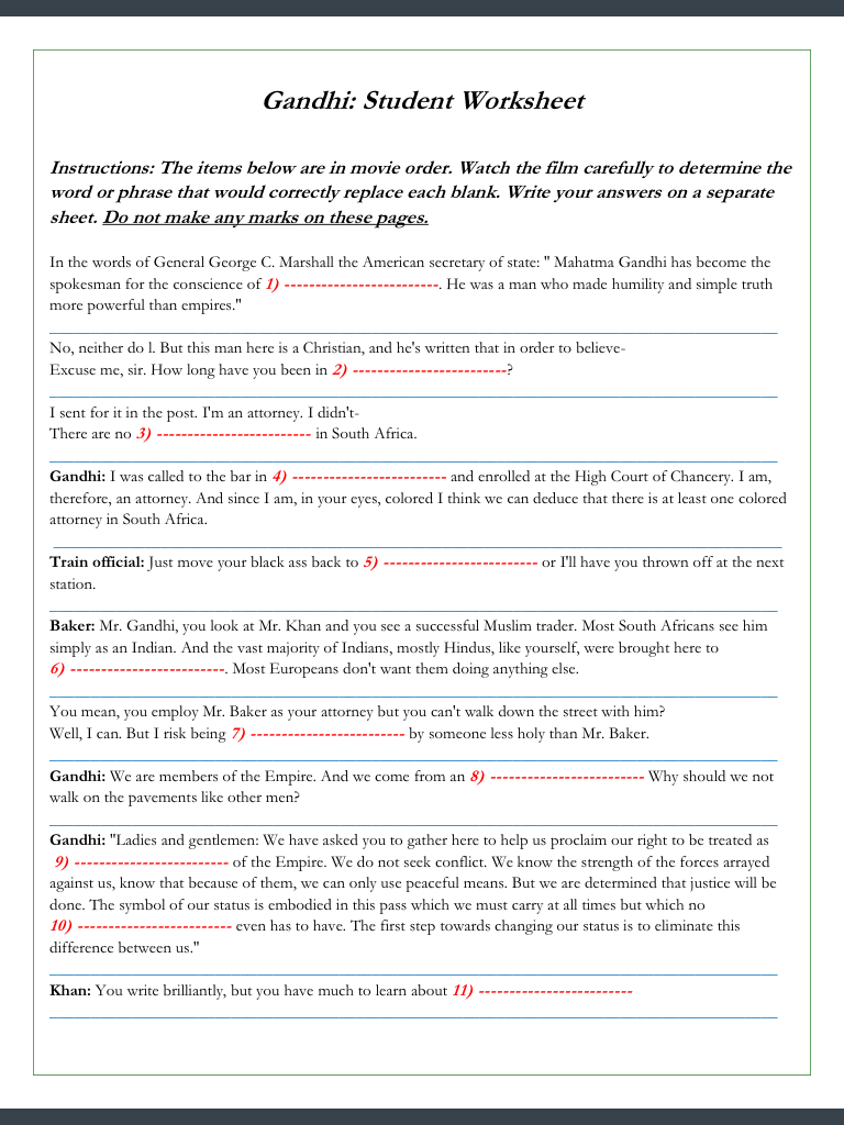 Gandhi Movie Worksheets -- 123 Cloze/Fill-in Problems ...