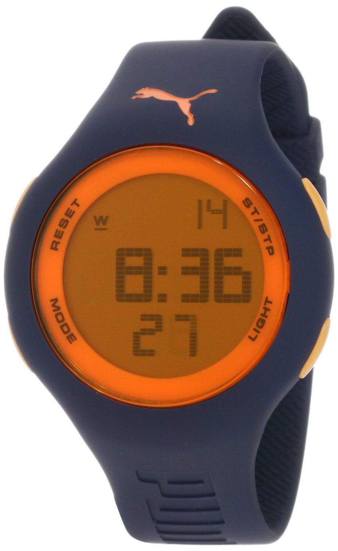 b3a6817ef8a1 PUMA Men's PU910801016 Loop Large Digital Dark Blue Orange Watch ...
