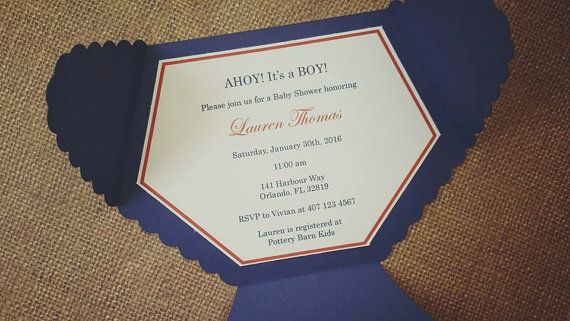 X Nautical Baby Shower Invitations With Envelope  Baby Shower
