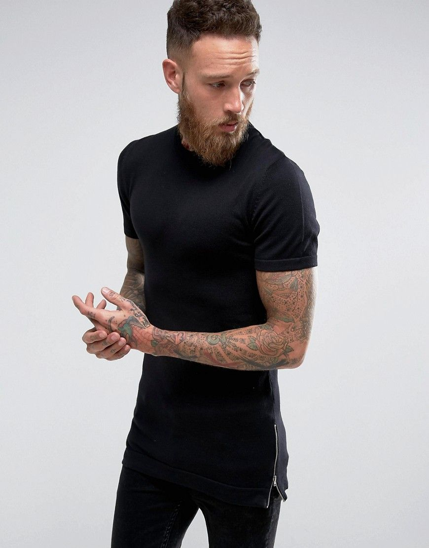 1be72e2f Longline Muscle Fit T-Shirt with Side Zips in Black | Products ...