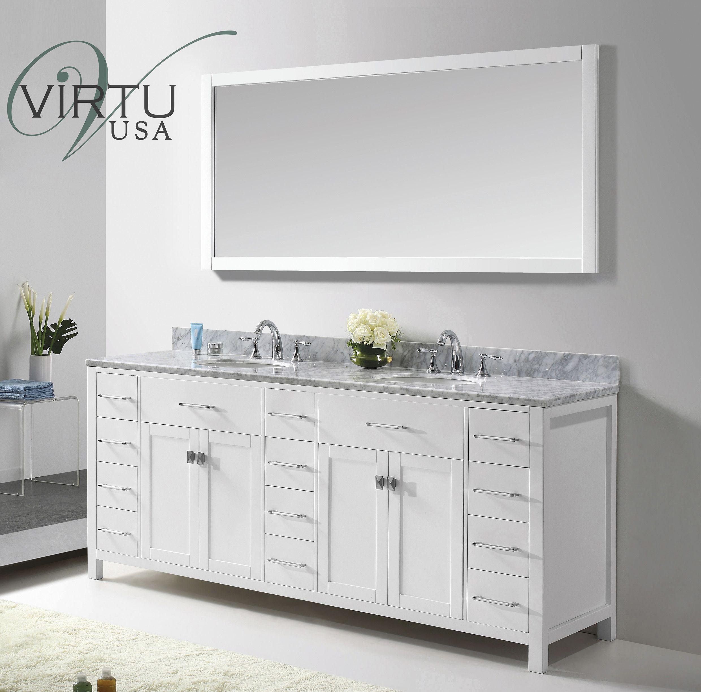 Virtu Usa Caroline Parkway 78 Bathroom Vanity White Finish Double Vanity Bathroom White Vanity Bathroom Double Sink Vanity