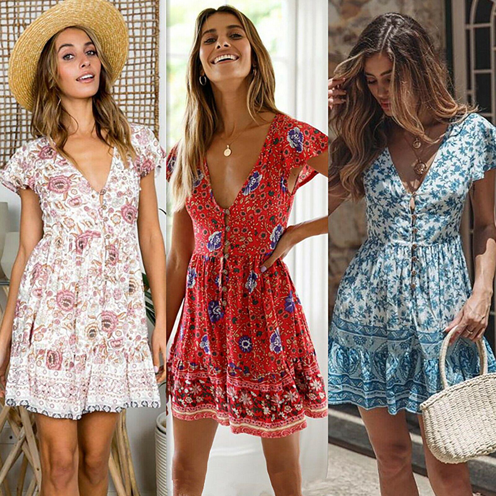 damen boho minikleid in 2020 | legere kleider, partykleid