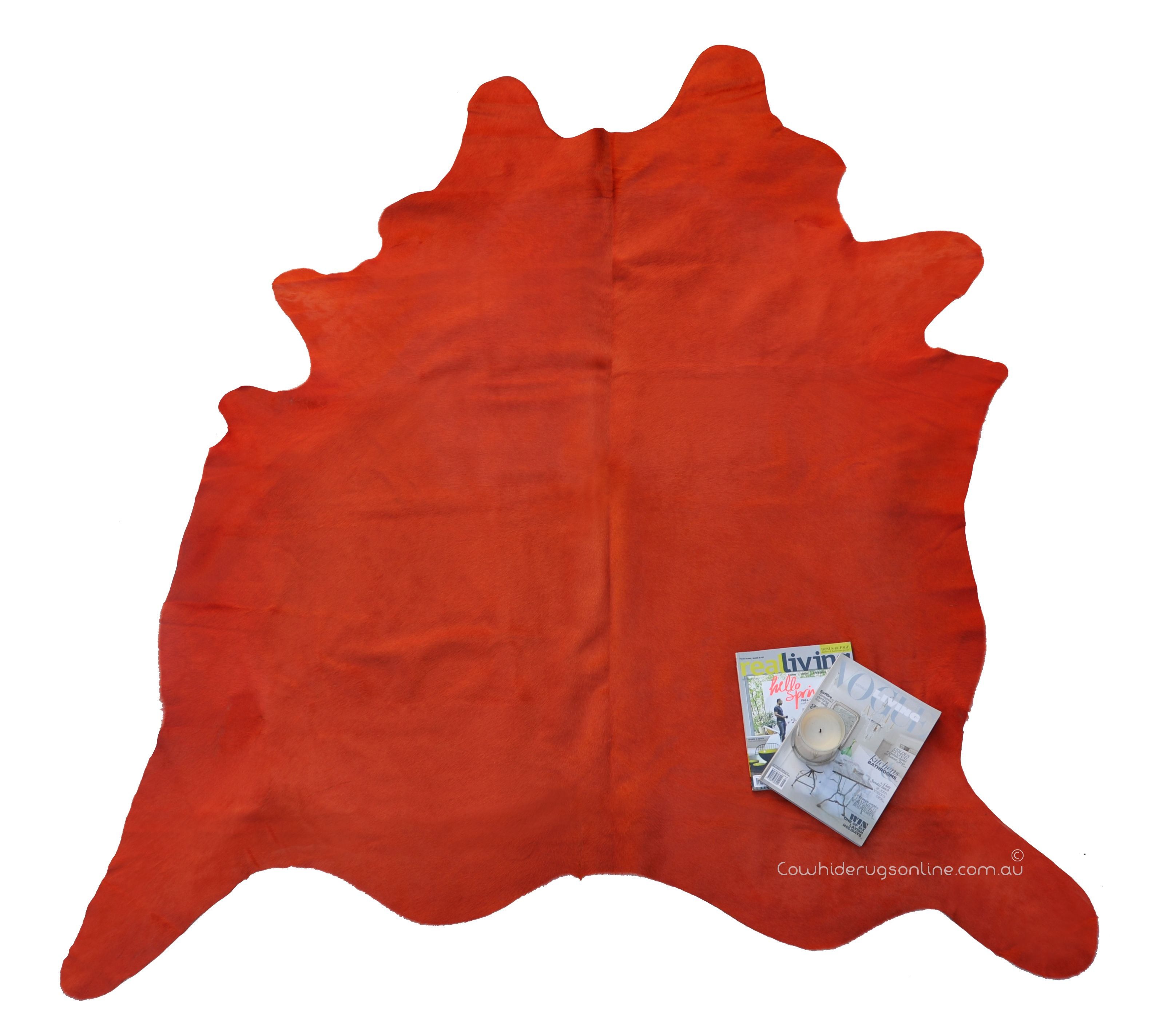 429 Australia Wide Fast Delivery Orange Cowhide Rug Coloured