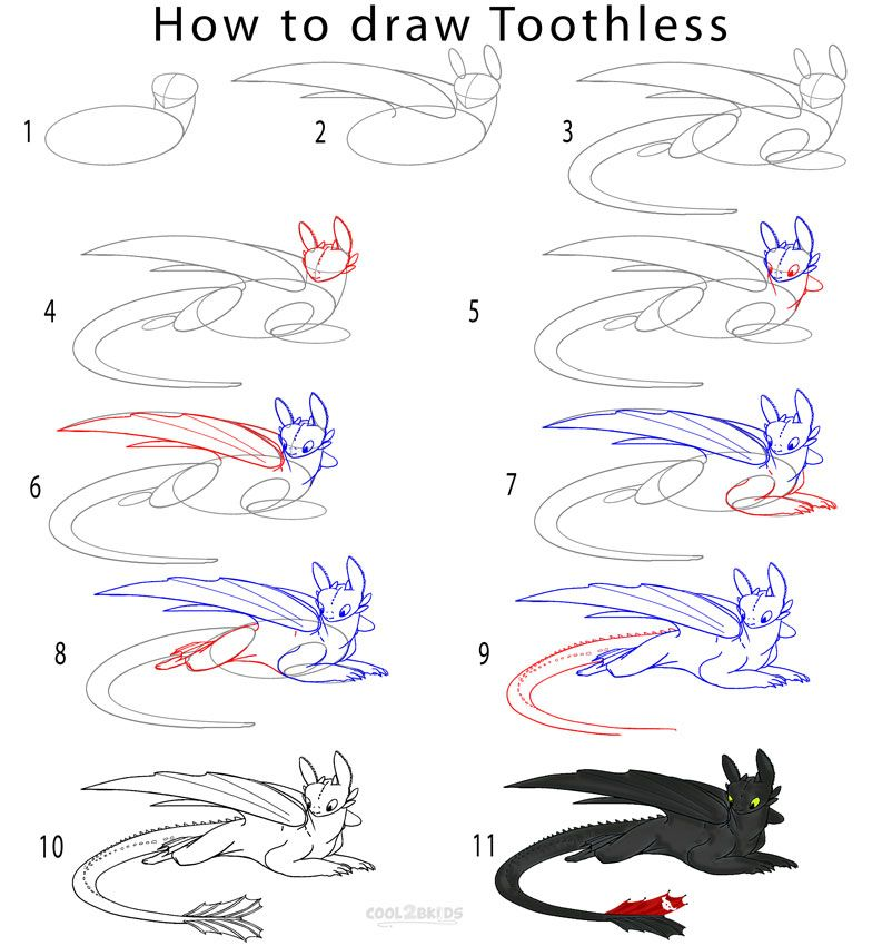 How to Draw Toothless Step by Step | To become Artsy ...