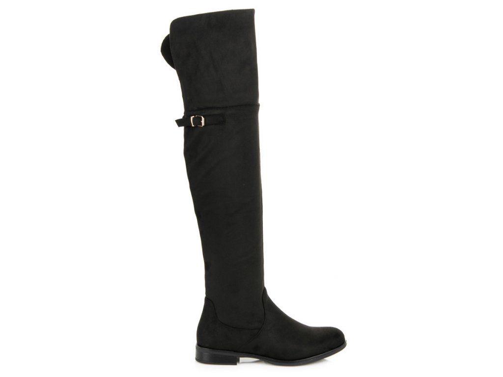 843dad438b5f Čierne čižmy nad koleno Super Me využi skvelé zľavy až do -40% Čierne čižmy