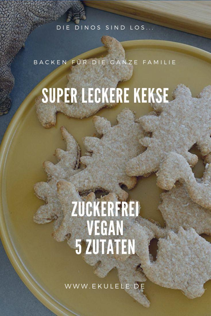 Schnelles Rezept für Kekse ohne Zucker - Vegane Dino Kekse - Ekulele - Familienleben, Rezepte, Mode,