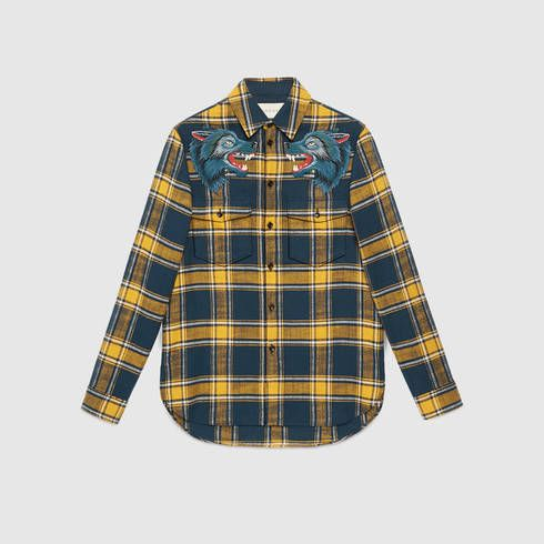 f7310edae99 GUCCI Plaid Shirt With Wolf Embroidery.  gucci  cloth  men s dress shirts    sports shirts