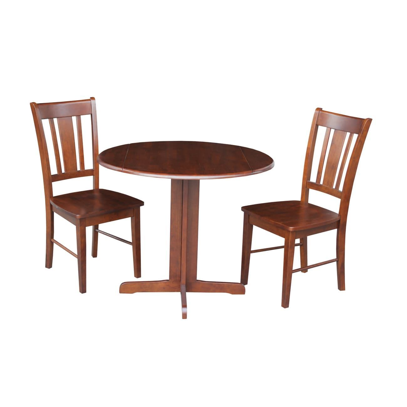 Dual Drop Leaf 36 Inch Dining Table With Two San Remo Chairs In Espresso